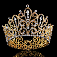 Luxury Sparkling Big Round Crystal Queen Crown Bridal Pageant Prom Large Tiara Crown Headdress Wedding Hairband Hair Accessories