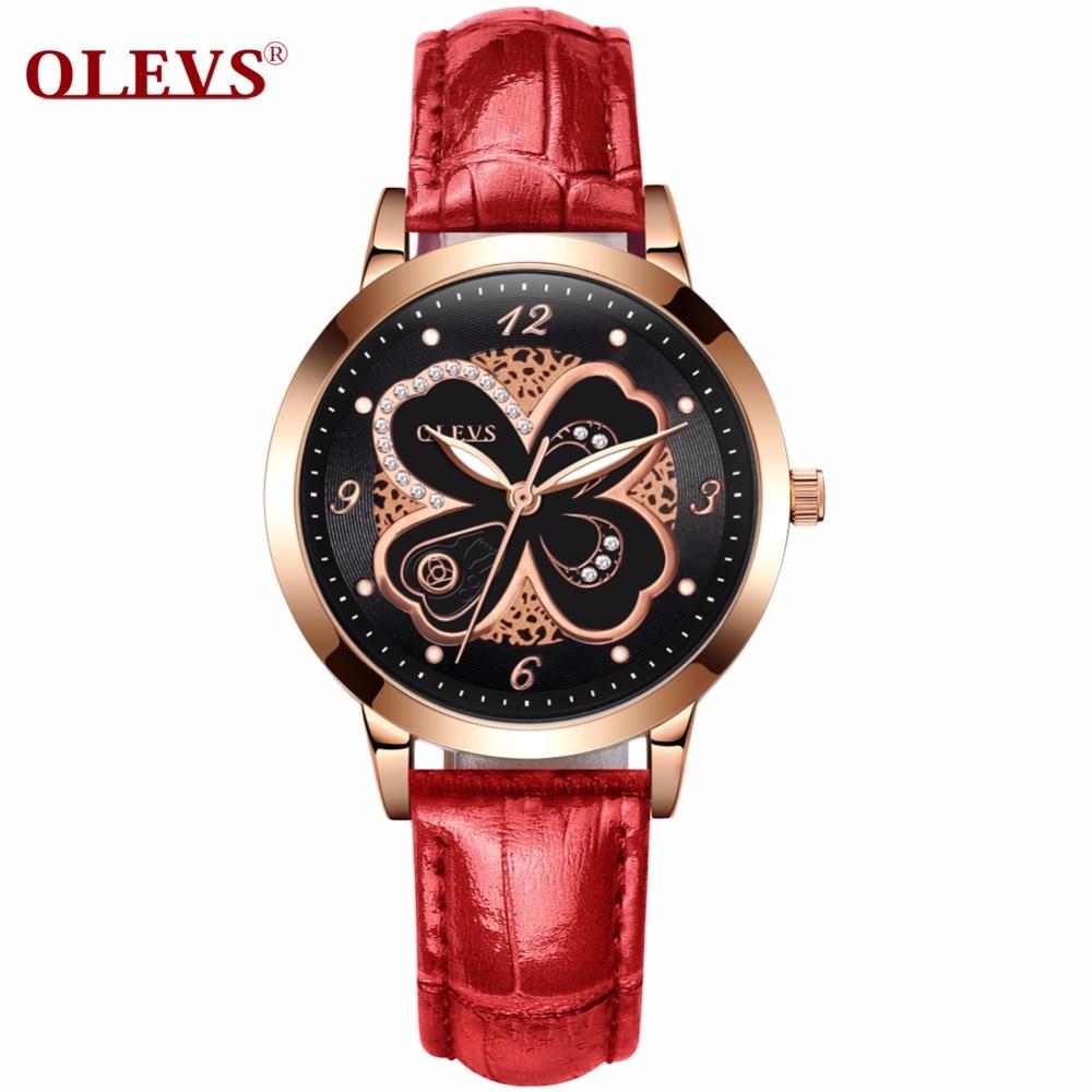f143260dc47f OLEVS Women Watch Luxury Rose Gold Genuine Leather Fashion Rhinestone Dress  Wristwatch High quality Clock relogio
