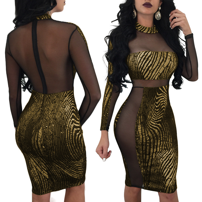 SexeMara 2018 New Long Sleeve Sexy Pacthwork Transparent Glitter Tight Bodycon  Dress Party Club Curvy Dress 9fd7faf55a24