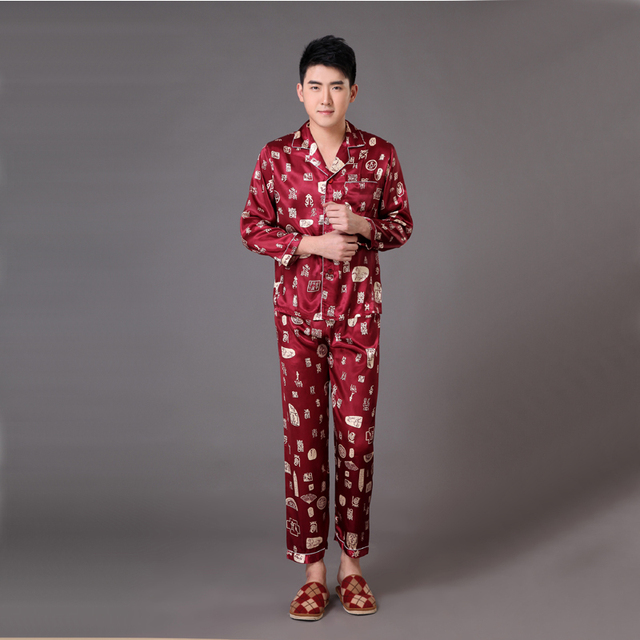 Borgoña Primavera Otoño de Manga Larga ropa de Noche Masculina Túnica Chino de Los Hombres Satén pijamas Set Pijamas Traje Sml XL XXL XXXL MP058