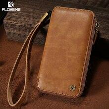 Floveme кожаный бумажник телефон чехол для iPhone 6 S 7 на молнии + шнурки Чехол Сумочка Чехол для Samsung Galaxy S7 S6 S6 edge чехол