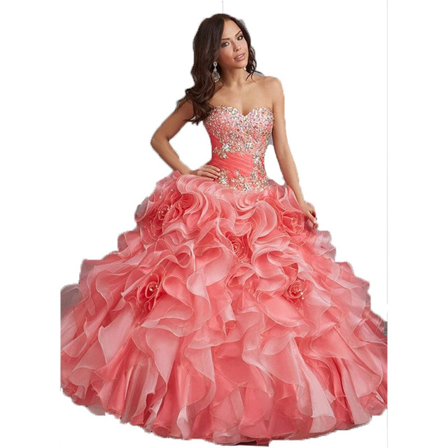 94c8af22930 Top Quality Coral Quinceanera Dresses 2017 Blue Ball Gown Sweetheart Beaded  Organza Long Sweet 16 Dresses Vestidos De 15 Anos