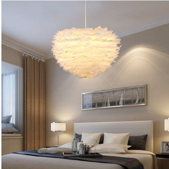 Modern White Feather Pendant Light Creative Romantic Flower Designer Study Living Room Hanging Light LED Feather Bedroom Lights