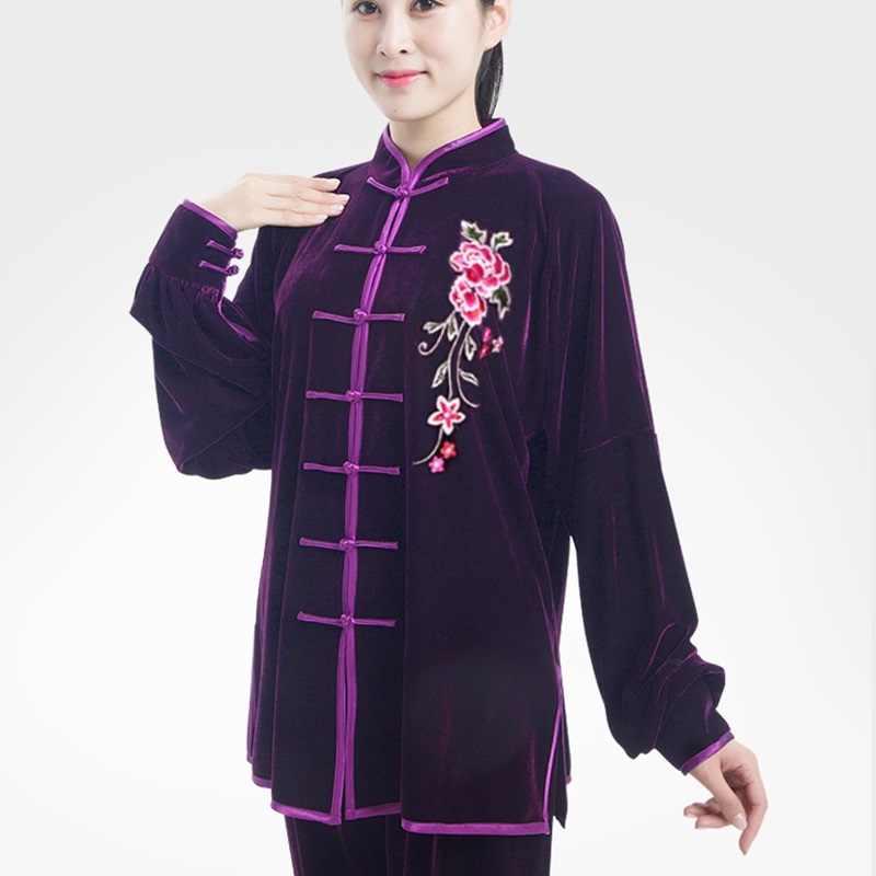 Tai Chi Roupas Outono Inverno 2019 de Veludo Traje Bruce Lee Wing Chun Wushu Tradicional Vestuário Chinês Kung Fu Outfit TA1256