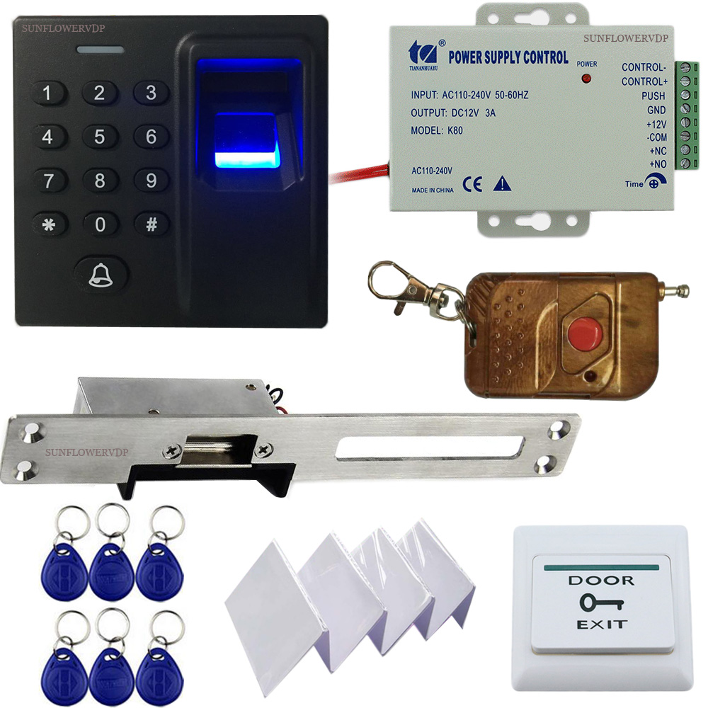 Fingerprint Keypad Rfid Access Control Gate Control + European Narrow-Type Electric Strike Lock + Wireless Remote Control Kits