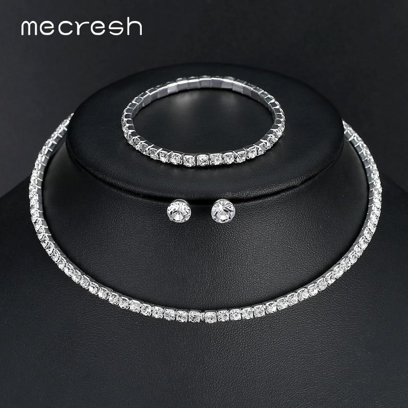 Mecresh Crystal Bridal Jewelry Sets Silver Color Rhinestone Necklace - Märkessmycken - Foto 6