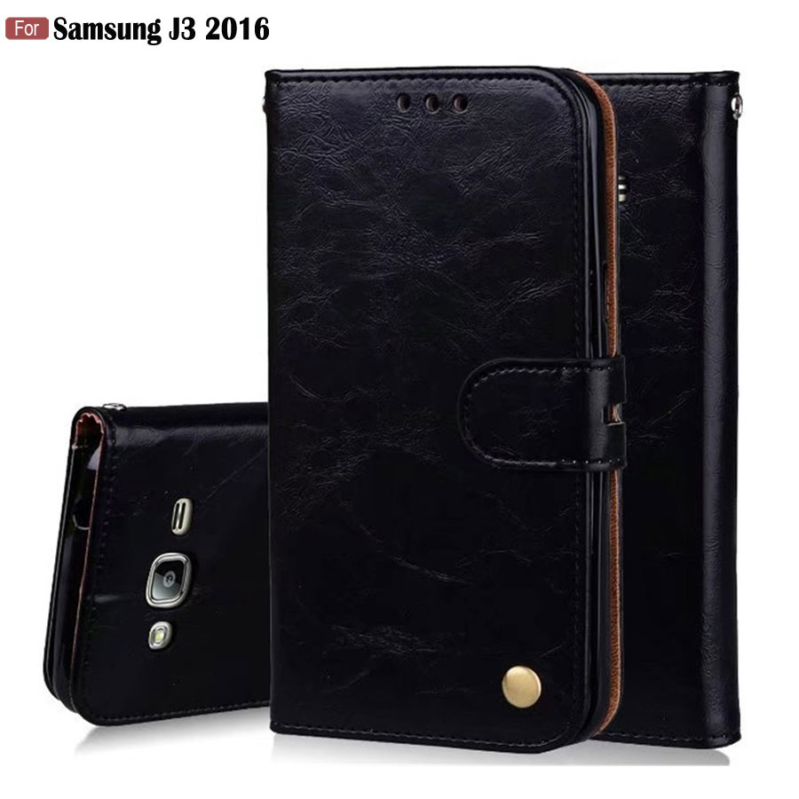 Galleria fotografica HOTSWEI For Samsung Galaxy J3 2016 J320 Case Retro Magnetic Wallet Leather + Silicone Business Case for Samsung J3 2016 Cover