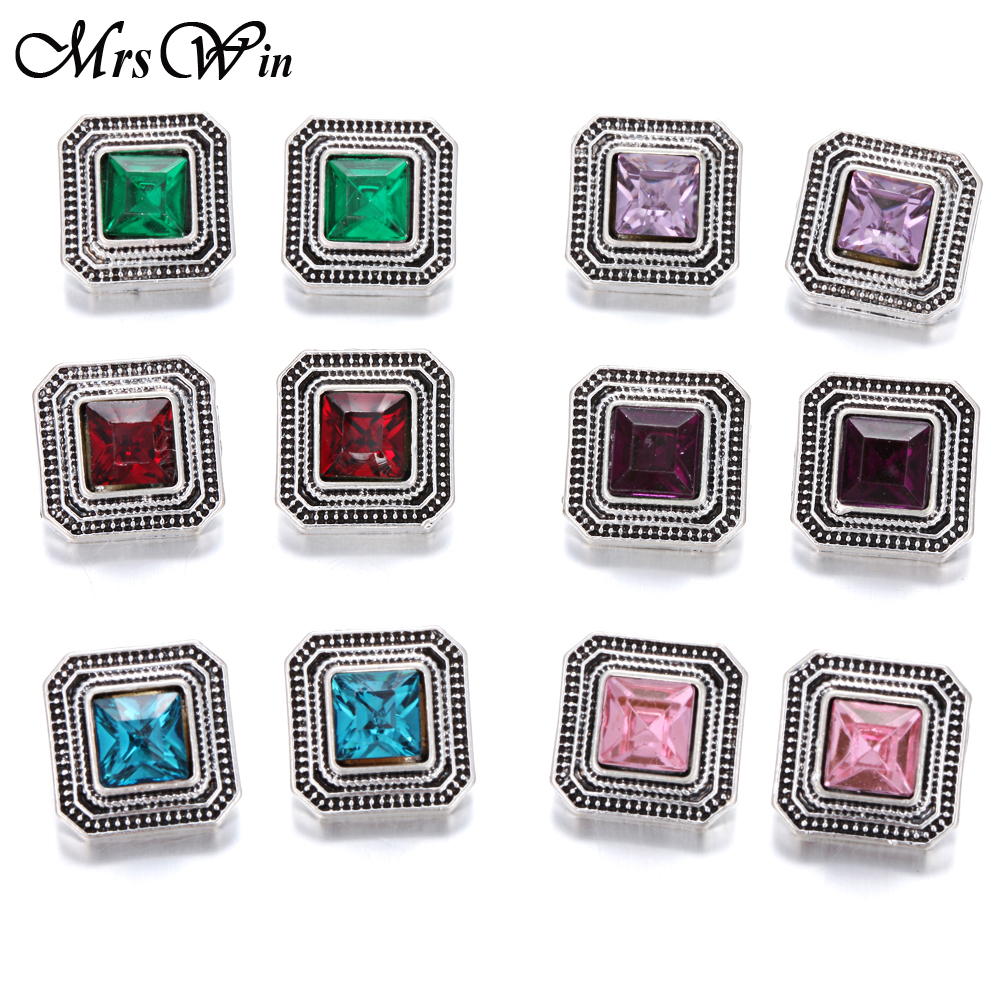 10pcs/lot 12mm Snap Jewelry Lot Vintage Rhinestone Metal Snap Buttons fit DIY 12mm Sivler Snap Bracelets Button Jewelry image
