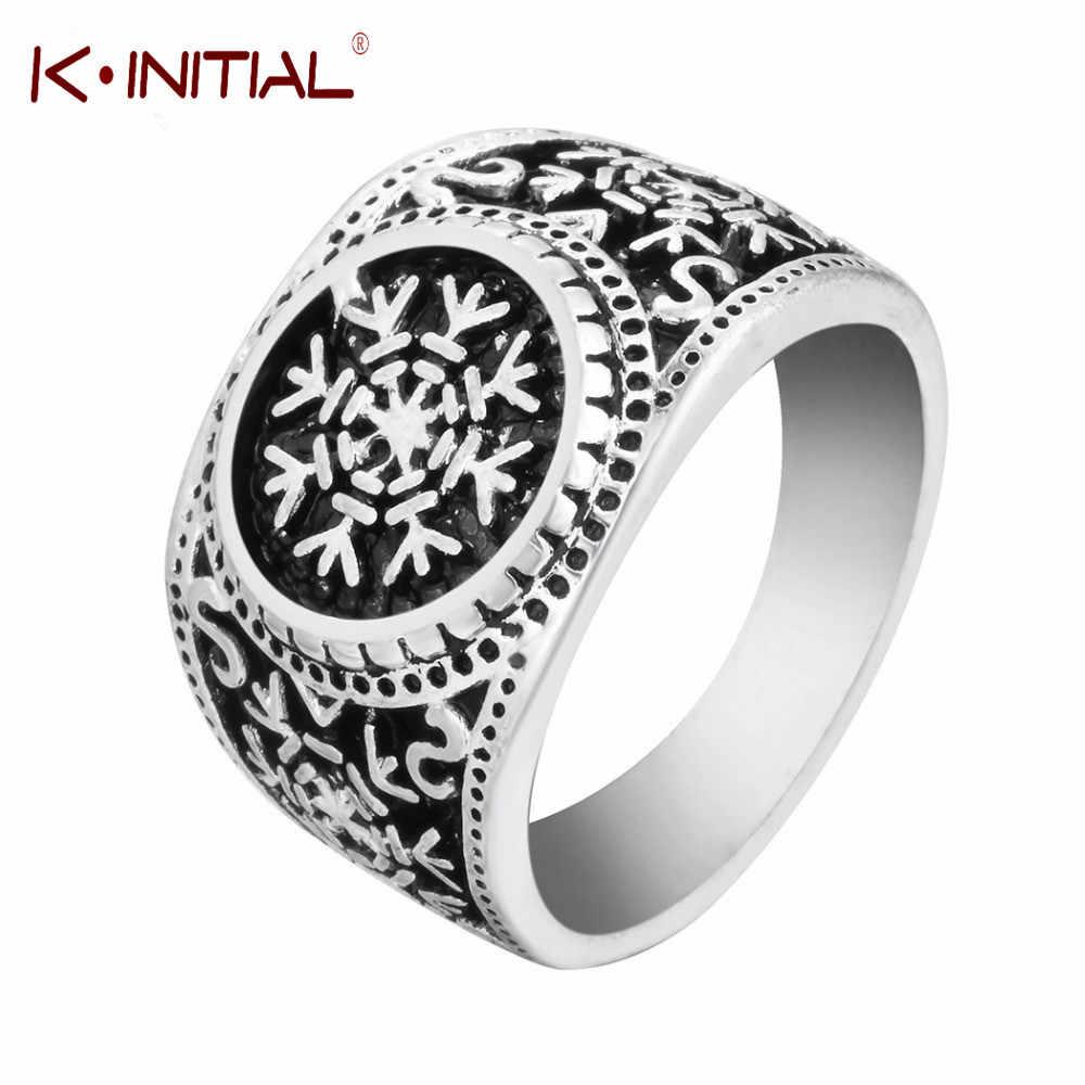 Ретро славянский символ Снежинка кольца амулет нордические кольца с рунами для мужчин кольцо-талисман Свадебные Oden's Ravens ювелирные изделия Kinitial бренд