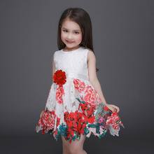 Retail Girl Princess Dresses Flower Sash Rose Flower Lace Hollow Bottom Princess Sundress Children Clothing 3-10T 86026