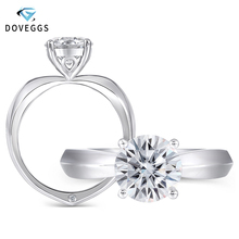 DovEggs Classic Solid 14K White Gold 1ct 6.5mm F Color Moissanite Solitaire Engagement Ring for Women Elegant Wedding Gift