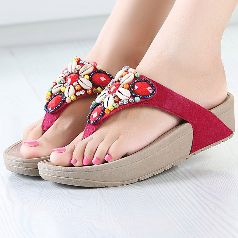 Shoes women flip flops 2017 new wedges platform string bead flower beach shoes fashion adult slippers