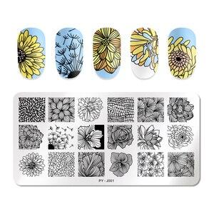 Image 3 - PICT אתה נייל Stamping צלחות מלבן צורת פרח סדרת נירוסטה נייל ארט סטנסילים כלים J001