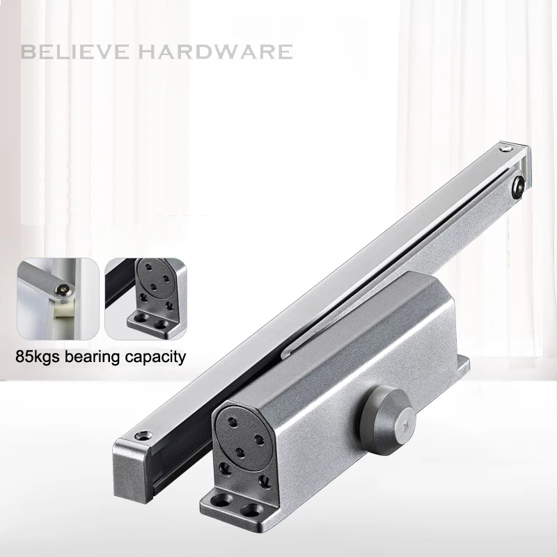 85 Kgs Bearing Capacity Hydraulic Buffered Door Closer Available For Wooden/Metal Doors Silver Color WM02804 commercial door closer 65 85kgs silver aluminium alloy for stainless fireproof iron doors
