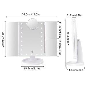 Image 5 - Make up 22 LED Eitelkeit Spiegel mit Lichter 1X2X3X10X Vergrößerung Glas Tragbare Touchscreen Machen Up Spiegel Flexible Kompakten Mirr