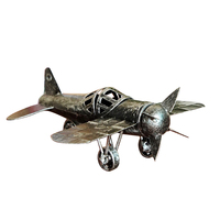 Vintage Metal Plane Home Ornaments Aircraft Model Toys For Children Airplane Miniature Models Retro Creative Home