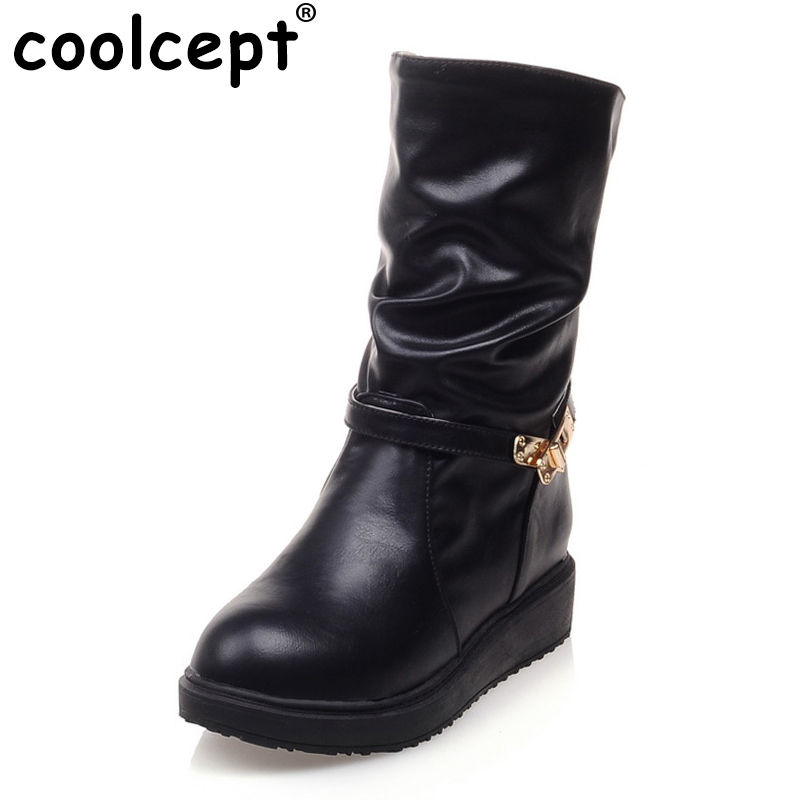 Women Flat Half Short Boots Winter Buckle Warm Mid Calf Boot Botas Round Toe Fashion Quality Footwear Shoes Size 34-43 women flat half short boot mid calf warm winter snow boots thickened fur plush botas fashion footwear shoes p22021 size 34 43
