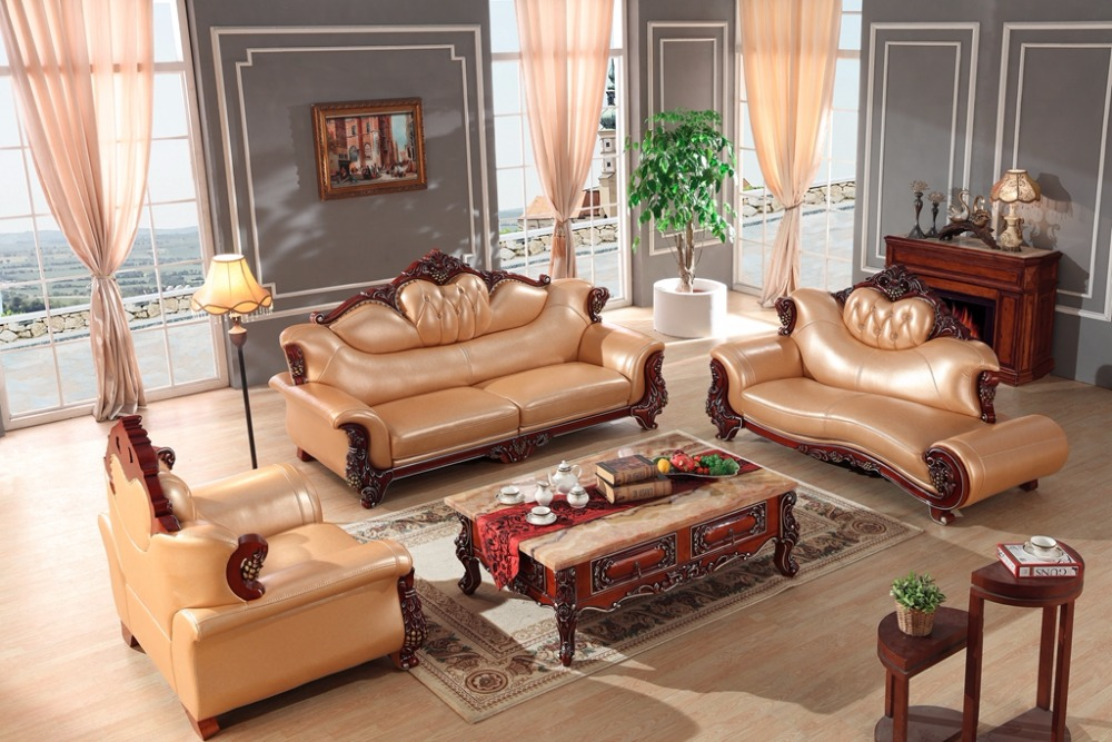 European leather sofa set living room furniture China wooden frame sectional sofa 1+4+chaise