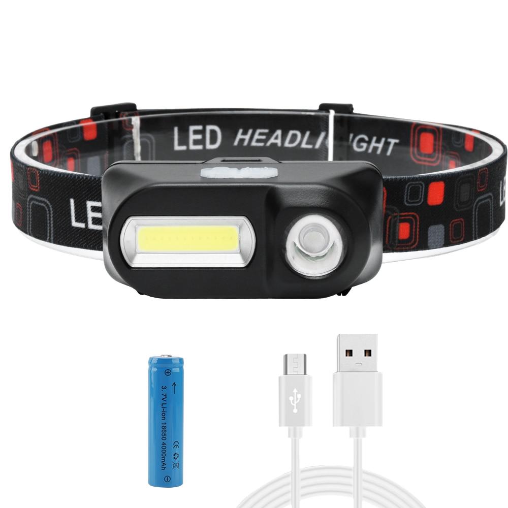 BORUiT XPE COB LED Mini Headlamp Rechargeable Headlight 7-Mode Head Torch Camping Hiking Night Fishing Flashlight 18650 Battery