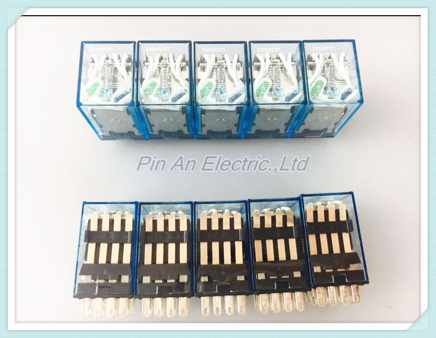 10 pcs MY4NJ DC 24V Coil 4NO 4NC Green LED Indicator Power Relay DIN Rail 14 Pin relay time