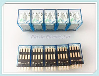 10 Pcs MY4NJ DC 24V Coil 4NO 4NC Green LED Indicator Power Relay DIN Rail 14