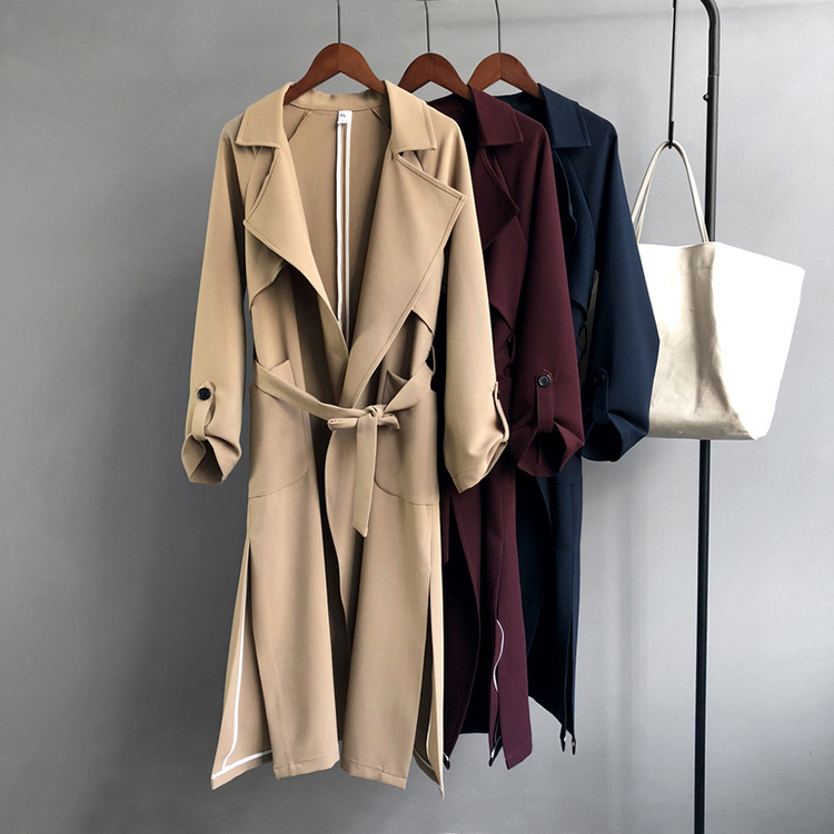 New Long Women Belt Trenches Knee Length Fashion Asymmetric High Street Coats Slim Waisted Casual Trenches Midi Wine Red