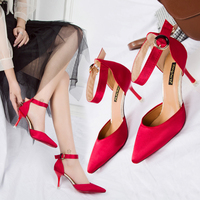 New Silk and Satin Single Shoes, Fine heeled, Point toed High heeled Shoes with Red Head