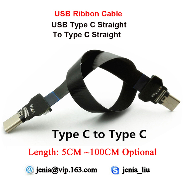 5 ซม.   100 ซม. สาย USB ตรงประเภท C ชายประเภท C ตรง FFC Flat Ribbon สาย