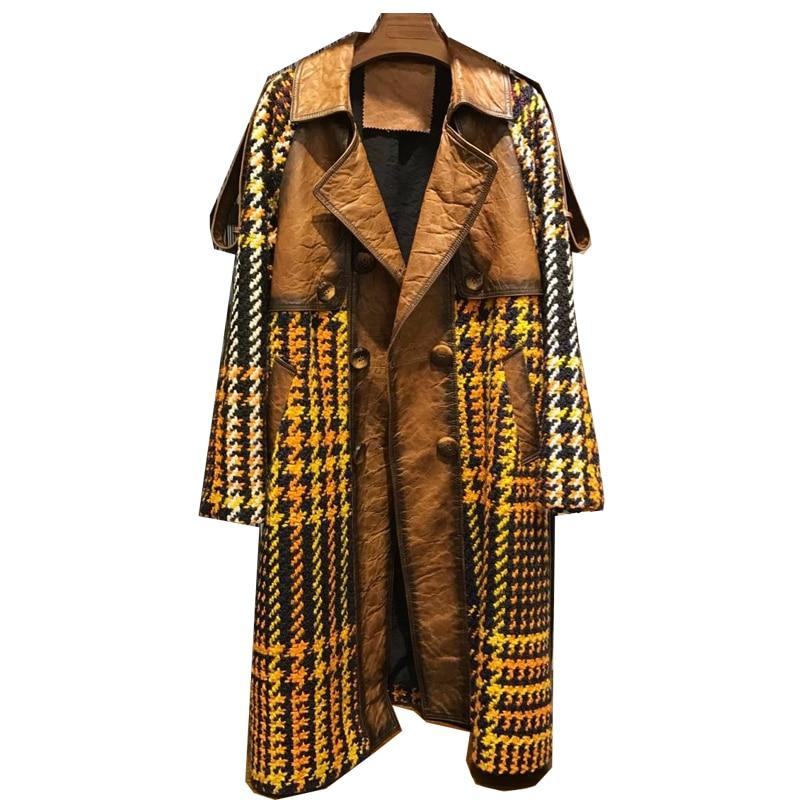 Véritable cuir véritable veste haut pour femme printemps automne hiver veste coréenne Vintage Long manteau femme veste Abrigo Mujer ZT1745