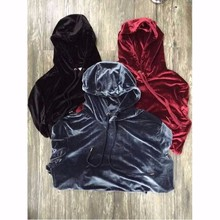 2018 New Arrived Kanye West Streetwear Solid Color100% Velvet Hoodies Men Pullovers Hip Hop Long sweatshirts Youth Popular S XL