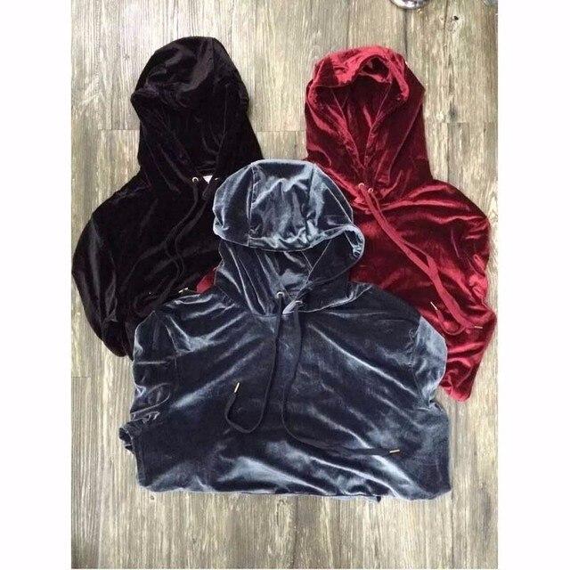 2018 Nieuwe Aangekomen Kanye West Streetwear Effen Color100 % Fluwelen Hoodies Mannen Truien Hip Hop Lange Sweatshirts Jeugd Populaire S XL