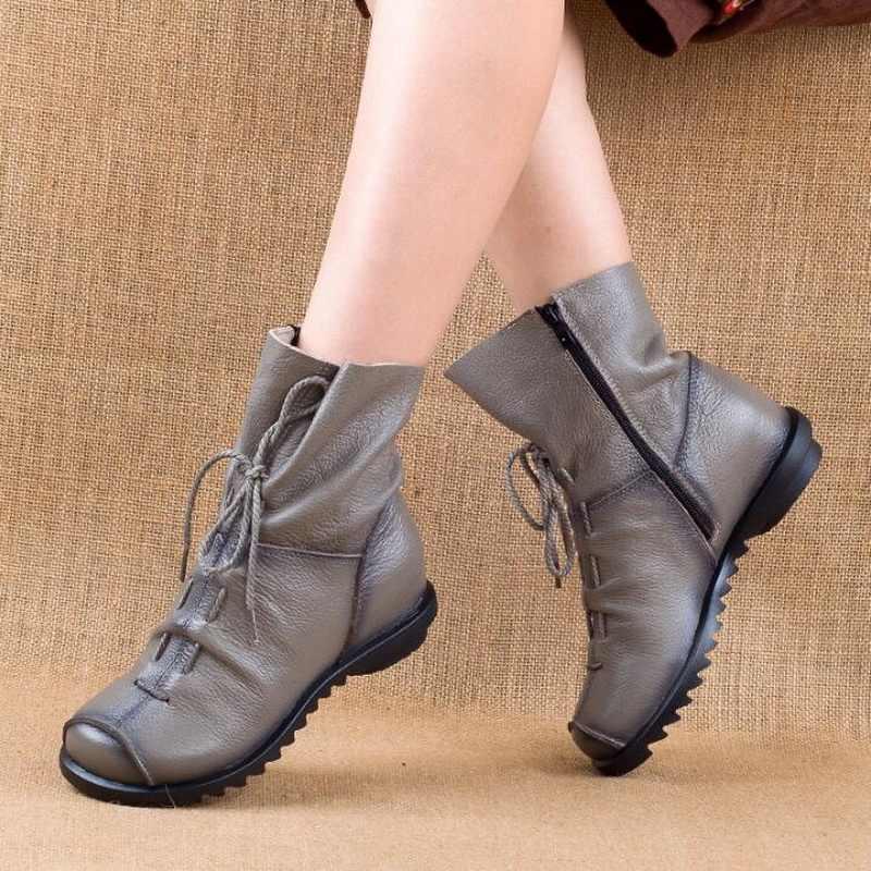 Оригинальный дизайн осень зима натуральная кожа Женские ботинки модные теплые сапоги женские ботинки Martins женская обувь Большие размеры 35-41