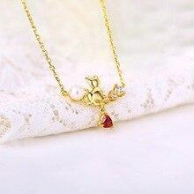 Котенок животное свитер ожерелье натуральное сердце кулон жемчуг ключицы цепи ювелирные изделия ожерелье s для женщин подарок
