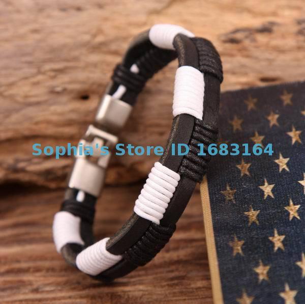 Ehrlich G80 Silber Handmade Hanf Wraps Leder-armband-armband-stulpe Herren White & Black Wir Nehmen Kunden Als Unsere GöTter