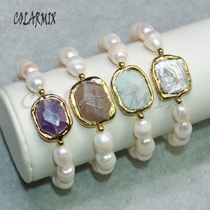 Natural pearls strand Metal color Mix color stone charms Handmade jewelry Pearls strand Bracelet 9110