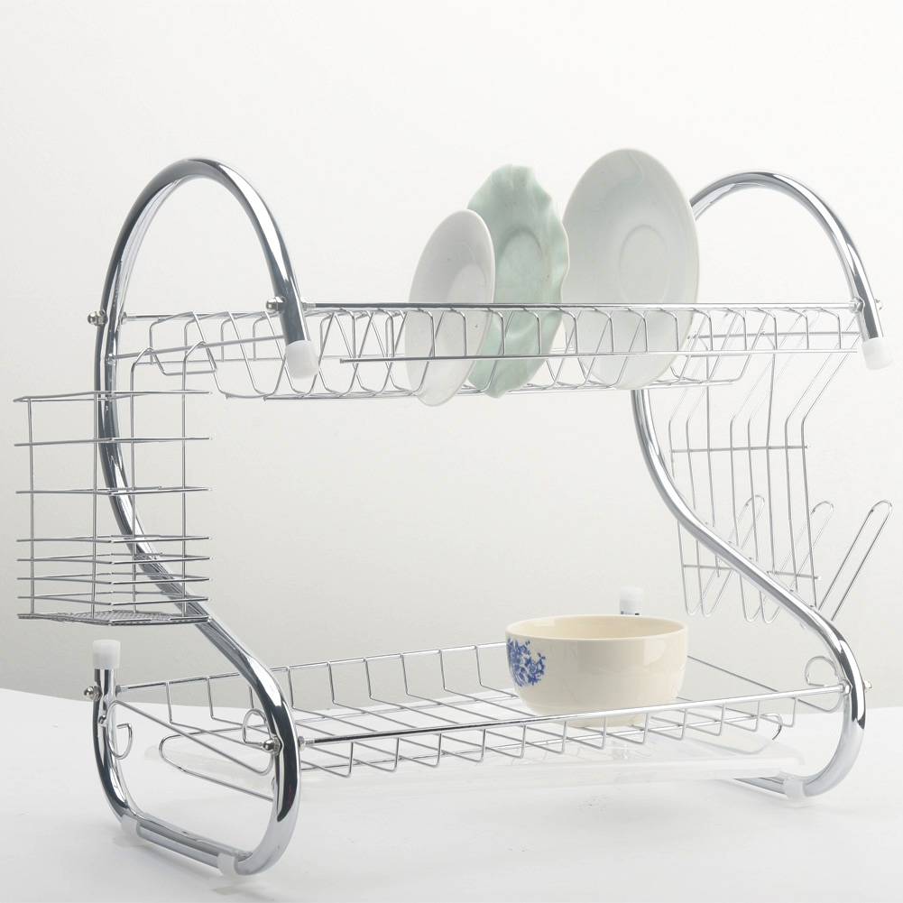 Image 2 - 2 Tiers Dish Drying Rack Holder Basket Plated Iron Home Washing Great Kitchen Sink Dish Drainer Drying Rack Organizer-in Racks & Holders from Home & Garden