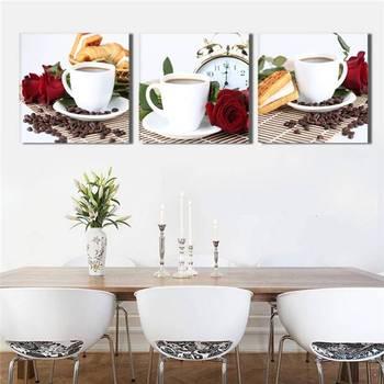 3 Панели Кофе Кухня картина маслом на холсте большие картины стены искусства куадро для гостиной плакат искусство печатаний картина