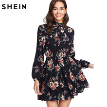 SHEIN Floral Women Dresses Multicolor Elegant Long Sleeve High Waist A Line Dress Ladies Tie Neck Dress (Ship After March 26th)