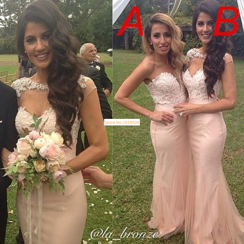 2015 Long   Bridesmaid     Dress   Sexy Mermaid Backless Prom   Dress   Capped Sleeve Lace Applique Pleats Custom Made Tulle Formal Gown d18