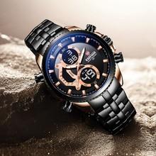 KADEMAN Luxury Men New Watch TOP Brand Original Tech 3ATM Sport LED Digital Wristwatch Fashion Full Steel Business Relogio
