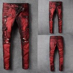 الايطالية نمط أزياء نحيل الجينز تمتد سراويل تقليدية جديد مصمم الكلاسيكية الجينز الرجال اللون الأحمر الرجال الجينز