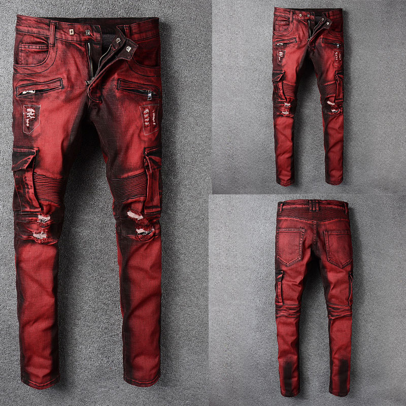 Italian Style Fashion Skinny Jeans Stretch Casual Pants New Designer Classical Jeans Men Red Color Men Jeans
