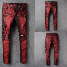 Italian Style Fashion Skinny Jeans Stretch Casual Pants New Designer Classical Men Red Color
