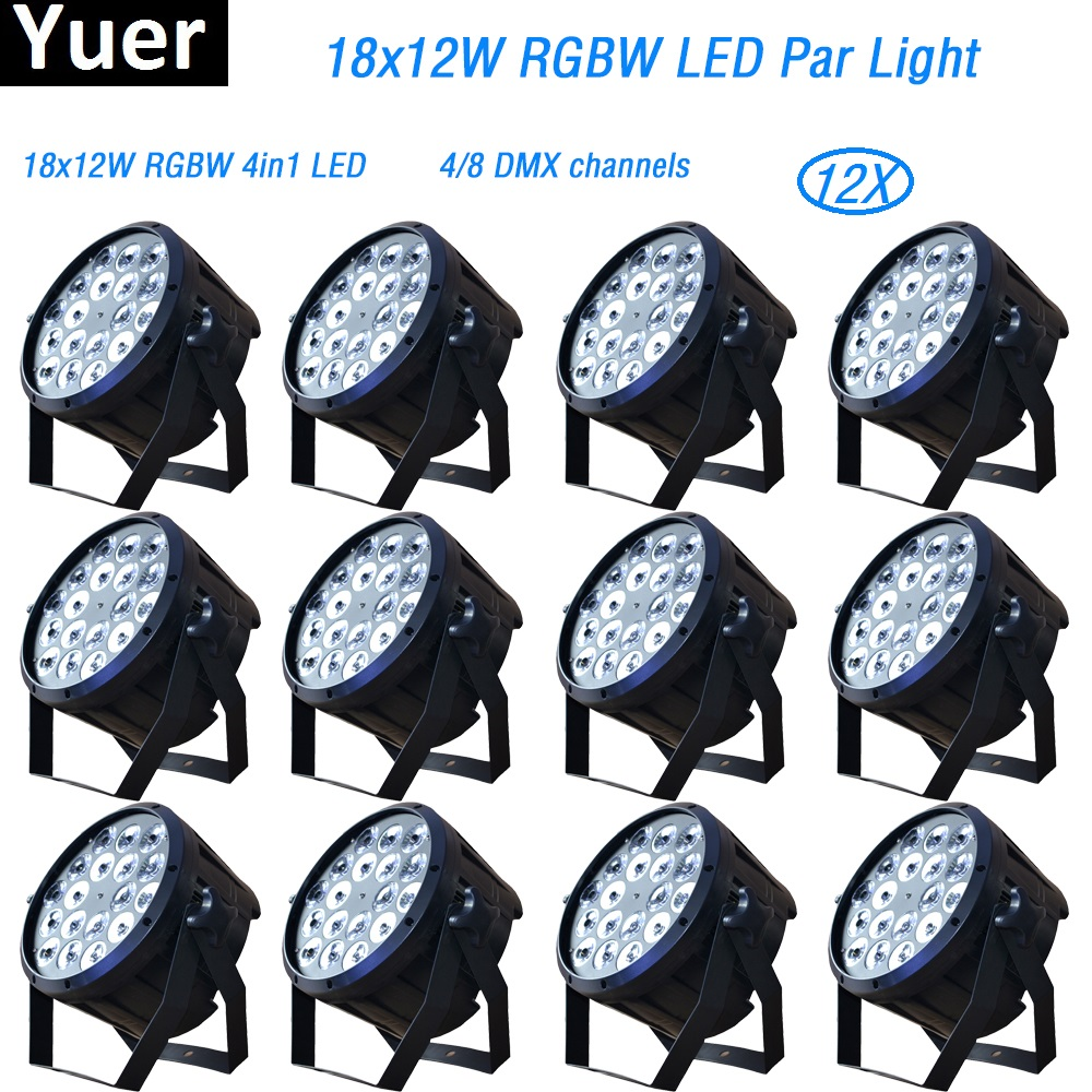 2018 New 12Pcs/Lot 18x12W led par lights disco lights dmx512 RGBW 4in1 par led dj light disco light professional DJ equipment шкаф в прихожую диван ру флорида 3 2 сосна авола
