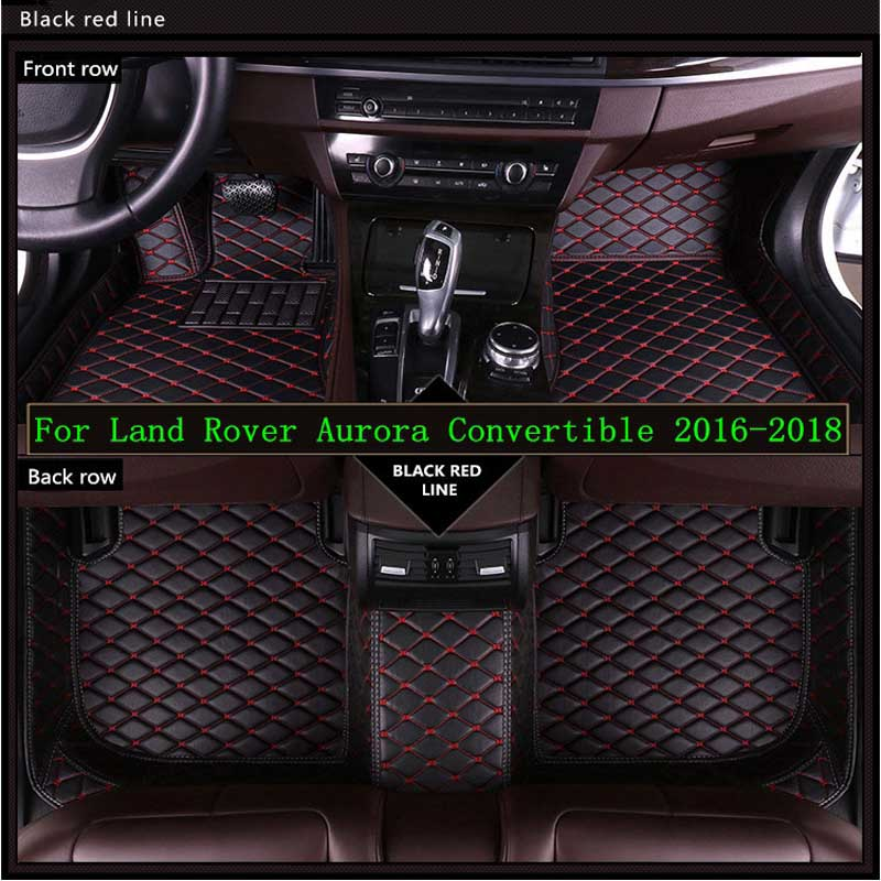 Leather Car Floor Mats For Land Rover Aurora Convertible 2016-2018 Custom Auto Foot Pad Automobile Carpet Cover Waterproof Mat Leather Car Floor Mats For Land Rover Aurora Convertible 2016-2018 Custom Auto Foot Pad Automobile Carpet Cover Waterproof Mat