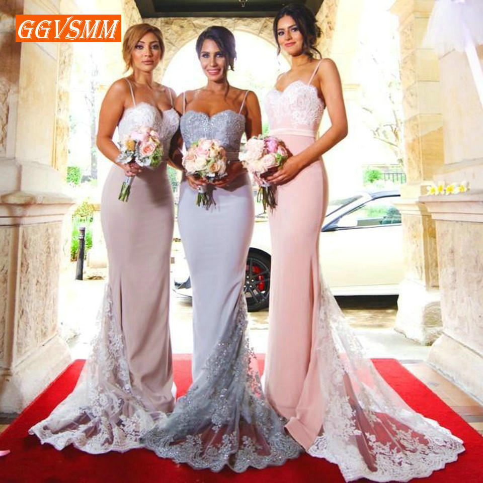 Stylish Pink Long Bridesmaid Dresses 2019 Banquet Wedding Party Gown Sweetheart Stretch Fabric Lace Mermaid Pageant Dress Women