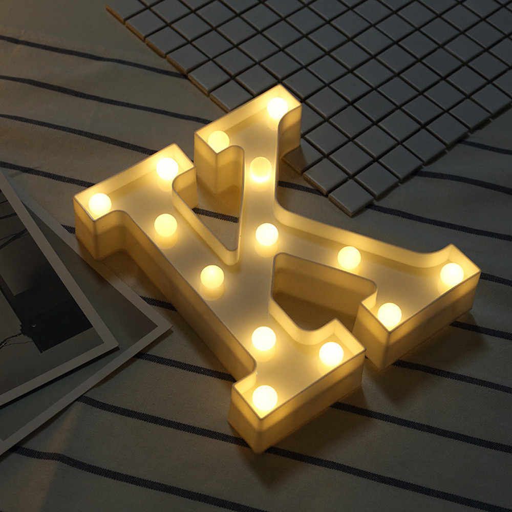 Alphabet Letter Lights Soft Warm Glow Led Light Up White Plastic Illuminate Letters Wall Hung