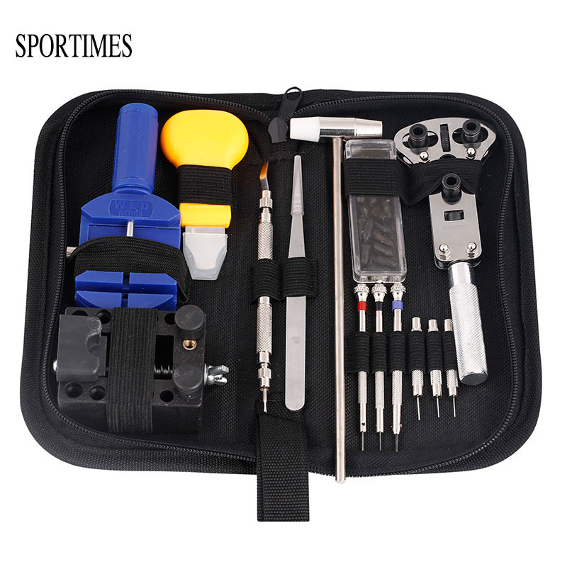 SPORTIMES 14 Pcs Watch Repair Tool Kit & Set HAMMER Case Opener Link Spring Bar Remover Screwdriver Tweezer Watchmaker Dedicated watch repair tool kit watch tools 9 5cm 4 5cm pins puller watchmaker tools watch hand remover tool parts accessories