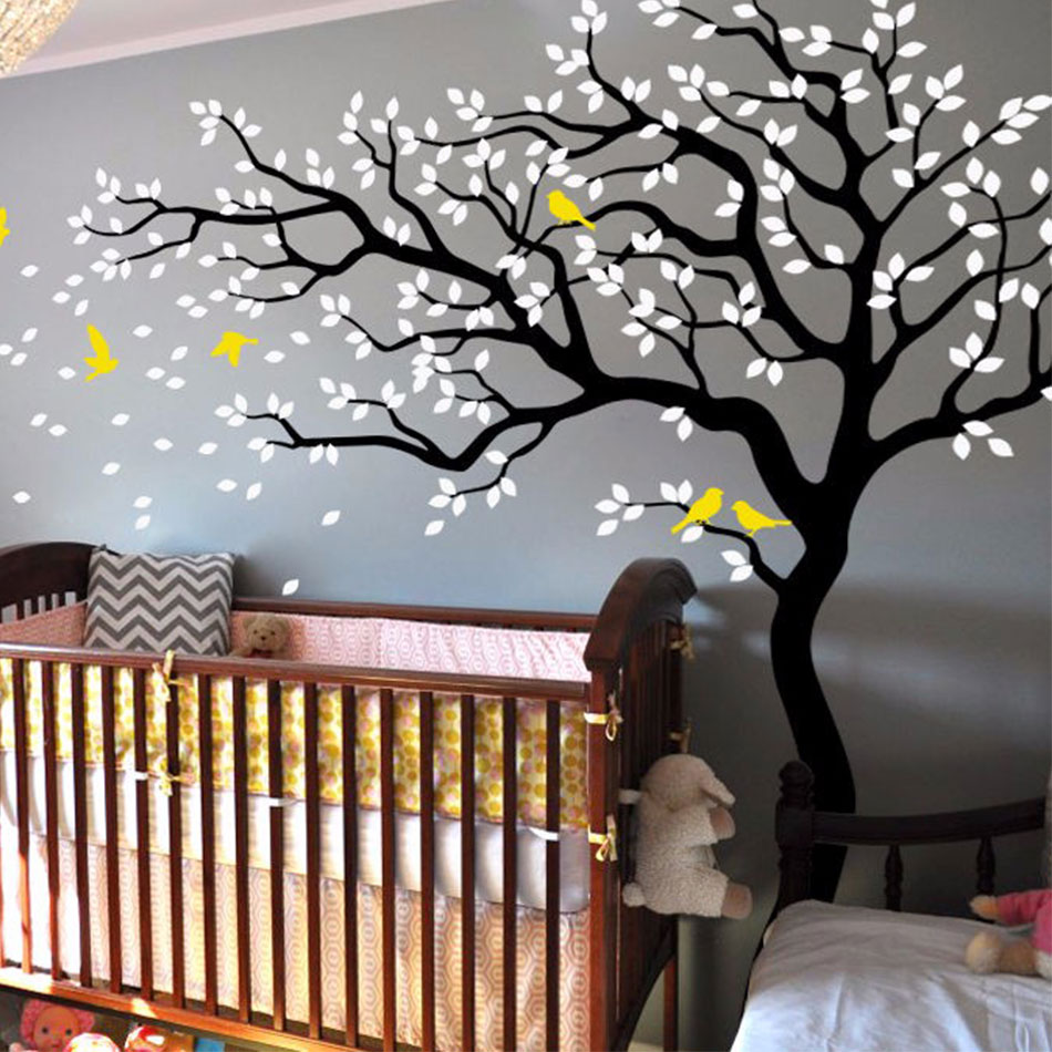 White Tree Wall Decal,Huge Tree WALL STICKERS,Nursery Wall ...