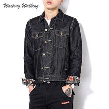 2017 Spring Autumn Men Jackets Jean Coats Cotton Denim Casaul Black Plus Size M-6XL Harajuku Style Slim Retro Fashion Coat x38